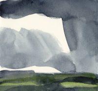 'Rain III' watercolour, 17.5 x 19 cm