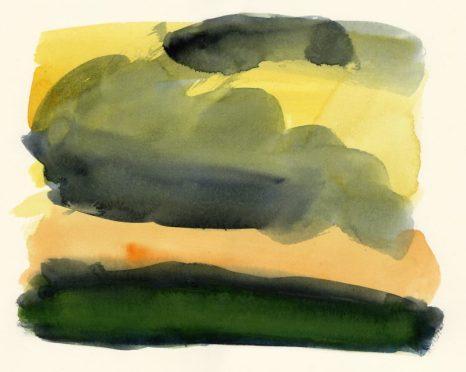 Landscape No. 18 watercolour, 21 x 26 cm
