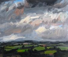 'Green Fields in Winter' oil on canvas, 60 x 70 cm