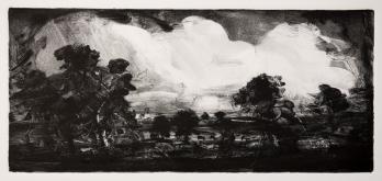 'Big Clouds, Old Landscape' monotype, 18 x 40 cm