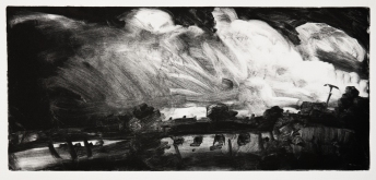 'Passing By' monotype, 18 x 40 cm